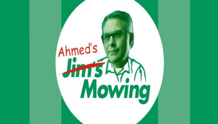 Ahmed mowing